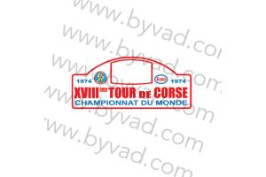 1 Plaque de Rallye Adhésive Tour de Corse 1974