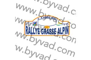 1 Plaque de Rallye Adhésive Rallye Grasse Alpin 1991