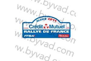 1 Plaque de Rallye Adhésive Rallye de France ALSACE 2011