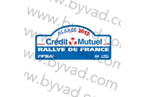 1 Plaque de Rallye Adhésive Rallye de France ALSACE 2013