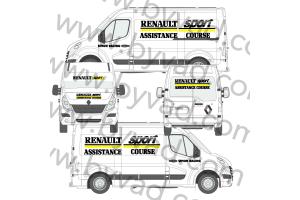 Kit déco Assistance Renault Sport Simon Racing taille L  (Master, Sprinter, Ducato, ...)