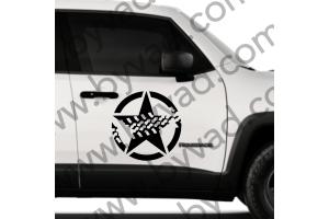 Sticker Etoile US ARMY TRACES DE PNEUS