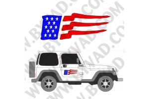 2 Sticker JEEP DRAPEAU USA