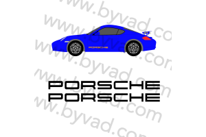 Kit deux stickers 'PORSCHE' 90 cm