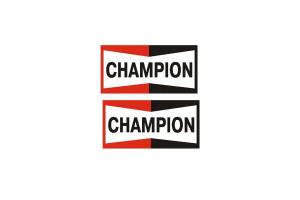 2 Stickers Champion 19 cm
