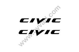 2 Stickers Civic 20 cm