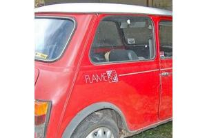 Kit 3 stickers Austin mini Flame Red
