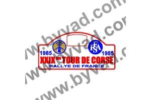 1 Plaque de Rallye Adhésive Tour de Corse 1985