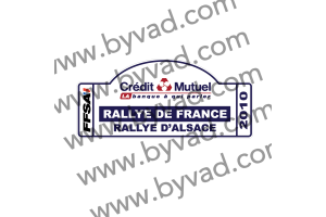 1 Plaque de Rallye Adhésive Rallye de France ALSACE 2010