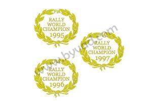 Six stickers Rally World Champion 1995-1996-1997