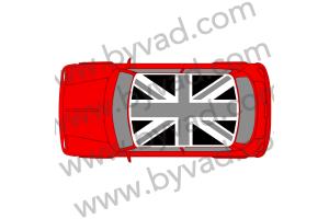 Sticker de toit union jack austin mini GRIS/NOIR
