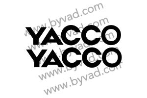 2 stickers YACCO texte 30 cm